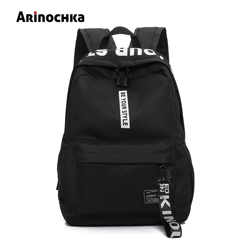 Female Fashion Junior High School Backpack Letters Print School Bags for Girls Black Backpack Teenagers Canvas Schoolbag Mochila