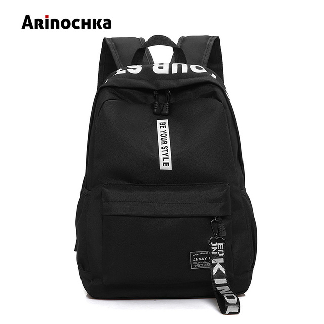 b29a1a4a9341 Female Fashion Junior High School Backpack Letters Print School Bags for  Girls Black Backpack Teenagers Canvas