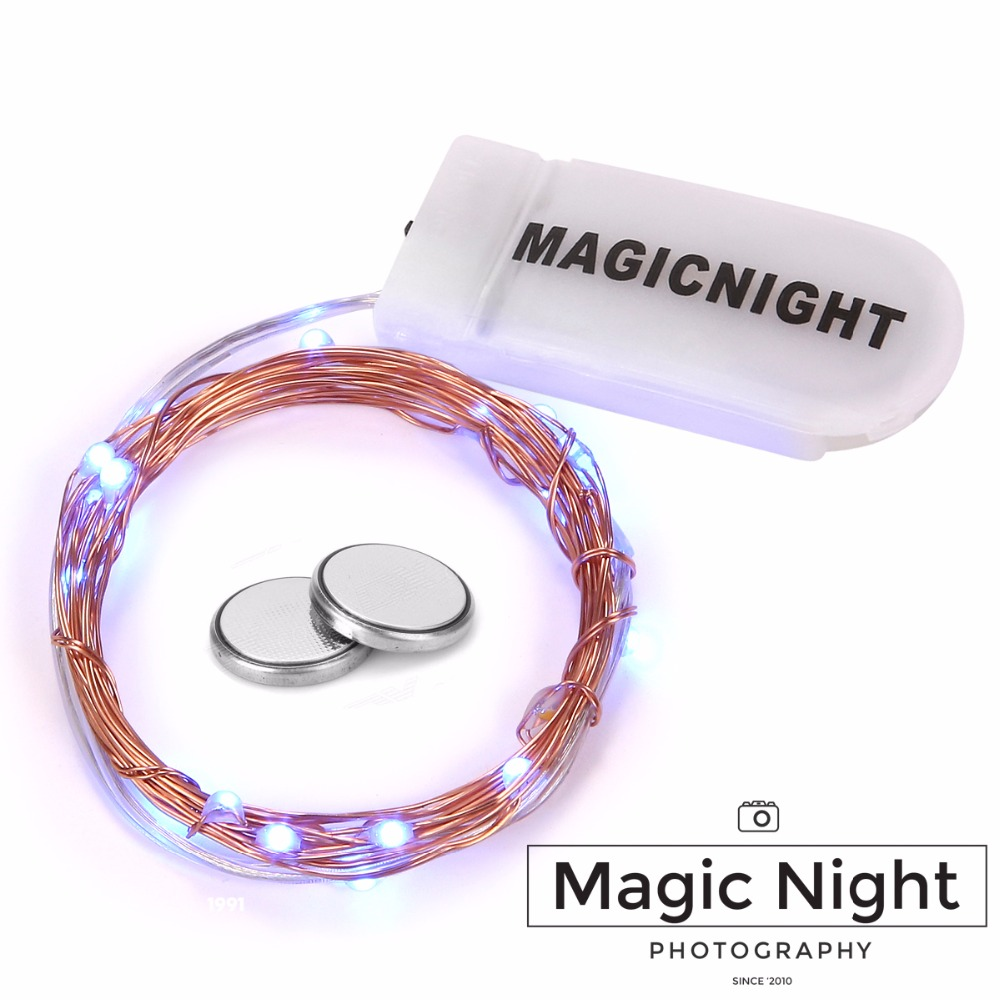 Magicnight 20 Blue Micro LED String Lights on 7 Feet Extra Thin Copper Wire for DIY Wedding Centerpiece Included Battery