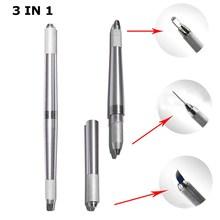3 In 1 Pcs Professional Tebori Microblading Pen For Permanent Makeup Machine Silve Manual Eyebrow Tattoo Pen 3D Tebori Munsu