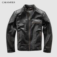 CARANFIER Vintage Genuine Leather Jacket Mens Brand Motorcycle Multifunction Jacket Men Detachable Jackets DHL Free Shipping brand new 140ddi35300 with free dhl