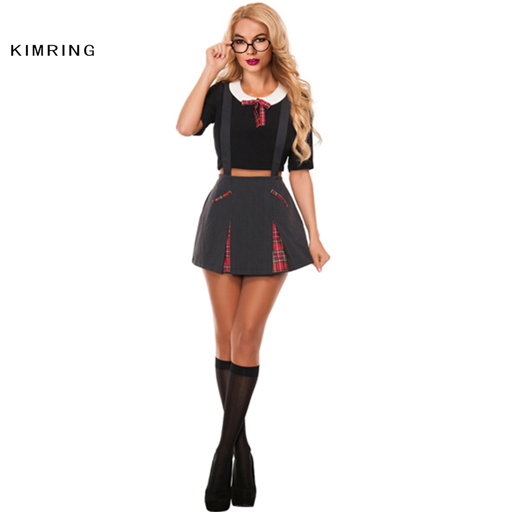 kimring sexy school girl costume halloween adult role play games uniform students dress woman cosplay erotic lingerie uniform - Naughty Costumes For Halloween
