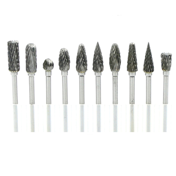 цена на 10pcs tungsten carbide burs sets rotary mini drill accessories dremel drill grinding burrs tungsten sharpening drill bits