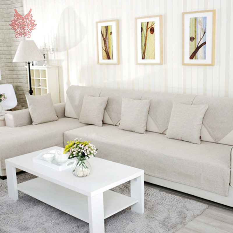 american modern style beige melange sofa cover cotton linen slipcovers