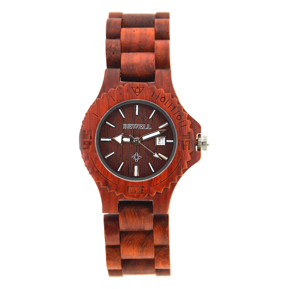 BEWELL Top Brand Wood Ladies Watches Fashion Handmade Sandalwood Women Watch and Luminous Pointers Lightweight Relogio 020A 2016 top brand bewell natural handmade sandalwood watch for masculino luxury watches gift reloj mujer zs 100ag