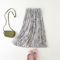 Chiffon Bust Skirt Female A Line High Waist Medium Long 72cm Floral Print All Match Pleated