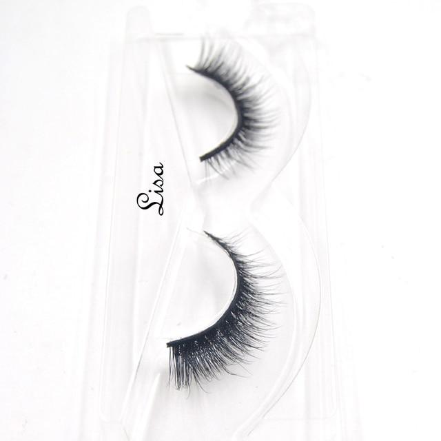 False Eyelashes hand made winged black band mink lashes black cotton stalk natural long eye lash reuse daily eye extension-lisa 2