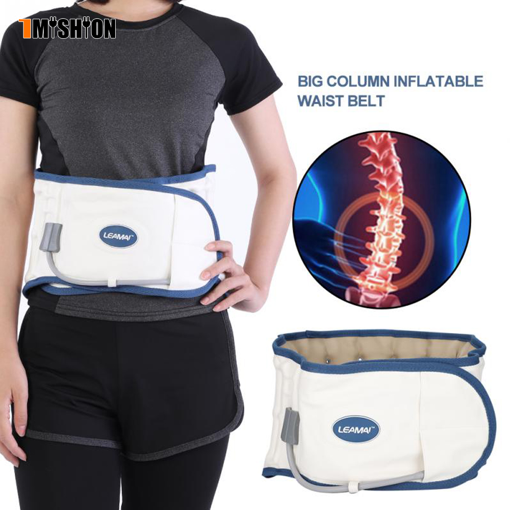 Inflatable Lumbar Brace Waist Belt Posture Corrector Relief Lumbar Disc Traction Device summer breathable protection belt waist disc inflatable lumbar traction