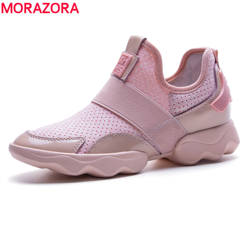 MORAZORA Big size 35-42 new women flats genuine leather sneakers spring summer casual shoes ladies flat shoes black pink color ribetrini summer large size 34 40 cow genuine leather woman shoes mix color leisure flats women shoes sneakers