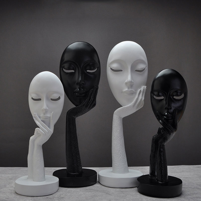 Nordic Black White Face Figurines Resin Masks Ornaments Handmade Tabletop Home Decoration Portrait Mask Crafts Thinker Statues