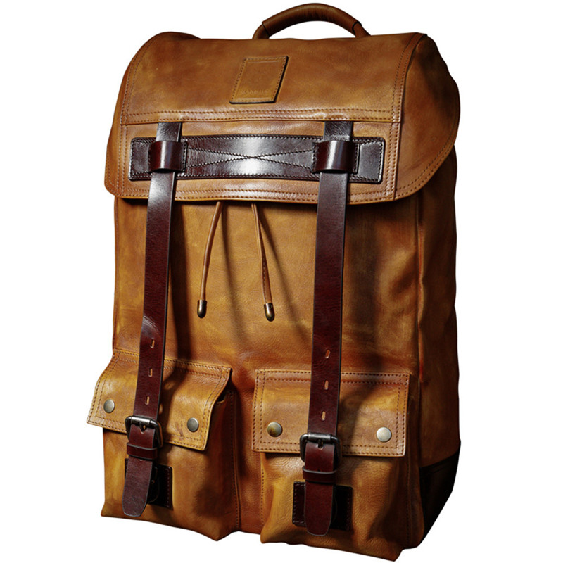 лучшая цена Men's casual minimalist computer bag Cow Leather large capacity backpack travel bag Classic business Backpack