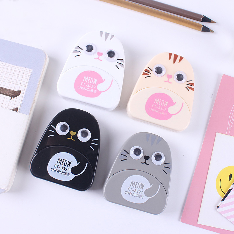 Cute Cartoon Creative Kawaii Ox-eyed Cat Correction Tape For Kids School Supplies Materials Korean Stationery Student Papeleria