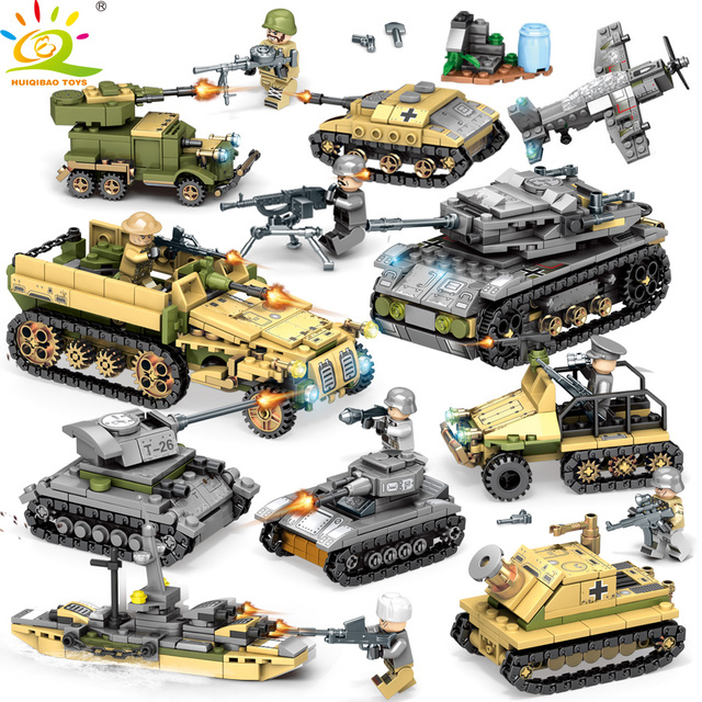 HUIQIBAO TOYS 1061pcs 8in2 Military Tank Building Blocks For Children Compatible Legoingly WW2 Army Soldier Vehicle weapon brick
