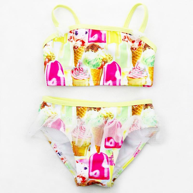 Baby Swimwear Girls 2 Pieces  Bikini Set 3-8Y Kids Tankini With Ice Cream Pattern Children Swimming Biquini Bathing Suit