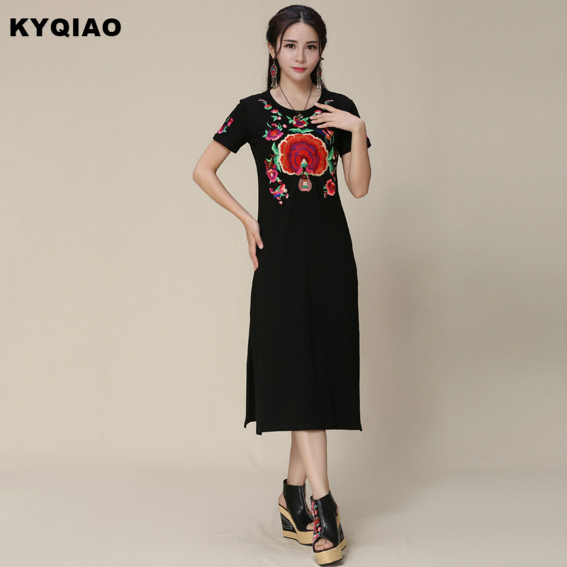 KYQIAO Ethnic dress 2017 Middle-aged woman mother Mexico style hippie ethnic long black embroidery dress vestidos gown robe
