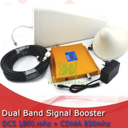 Répéteur de Signal de téléphone portable double bande DCS 1800 Mhz CDMA 850 Mhz avec antenne périodique/antenne de plafond