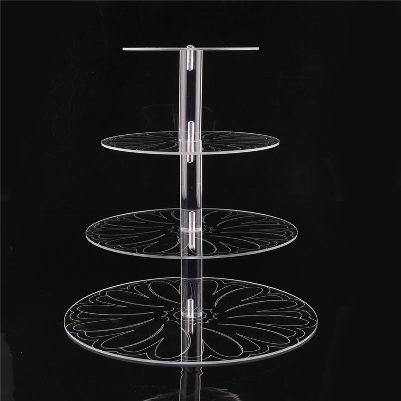 Image 5 - New Round Acrylic 3/4 Tier Cupcake Cake Stand Cake Holder Assemble and Disassemble Home Birthday Tools Wedding Party Stands-in Stands from Home & Garden on AliExpress