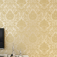 Non Woven Embossed Bedroom Wallpaper Modern Damask Wallpaper Beige Wall Covering For Living Room Home Decoration