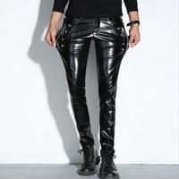 Stretch Men S Leather Pants Zippers Faux Pu Thicken Dance Joggers Pants Men Skinny Punk Hip