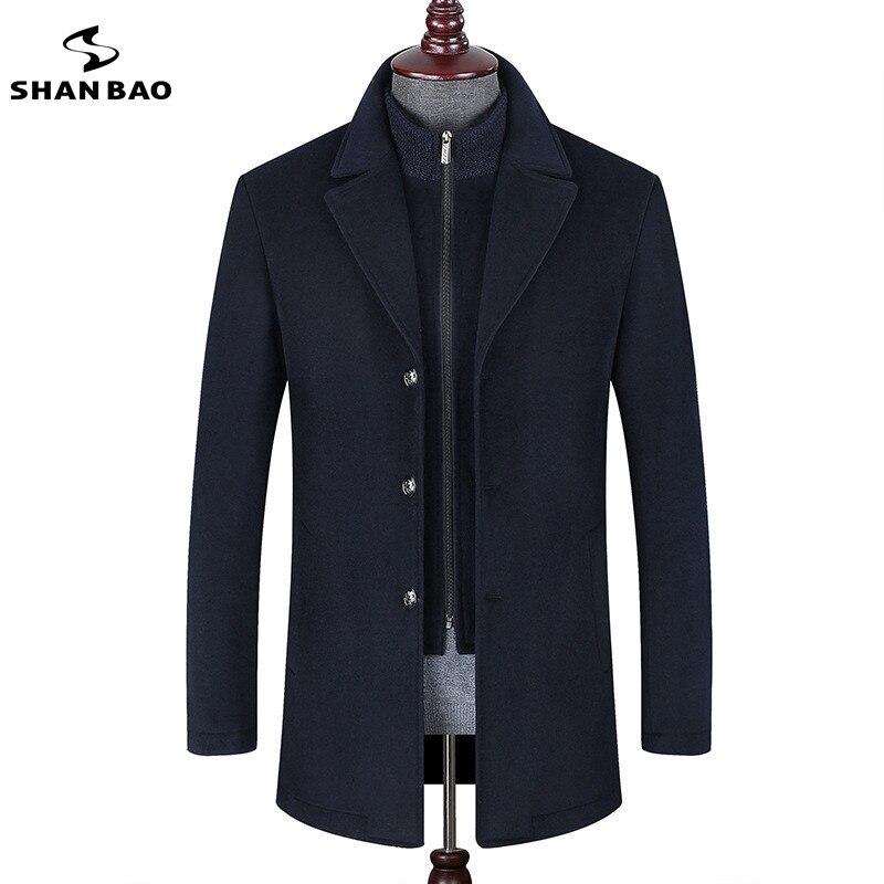 SHANBAO marque haute qualité de luxe laine manteau 2018 hiver nouveau style d'affaires décontractée amovible deux-pièce hommes de revers manteau