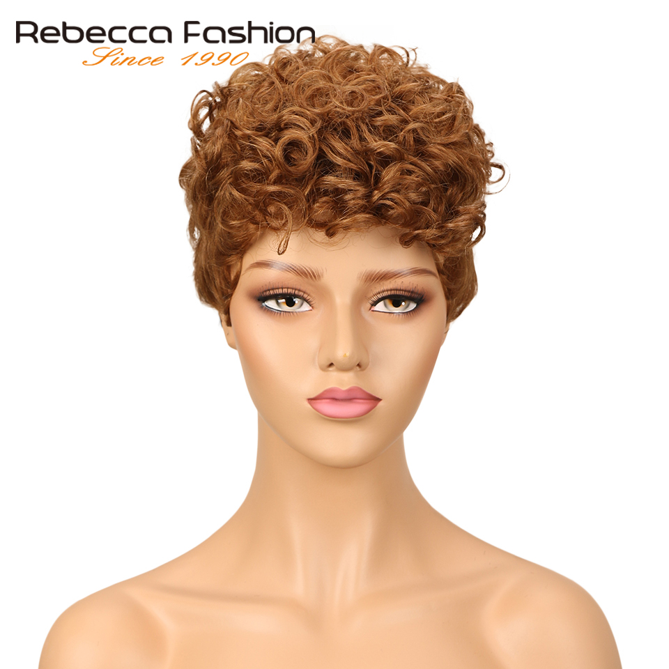 Rebecca Short Loose Curly Wig Brazilian Spiral Curly Remy Human Hair Wigs For Black Women Brown Red Wine Colored Free Shipping