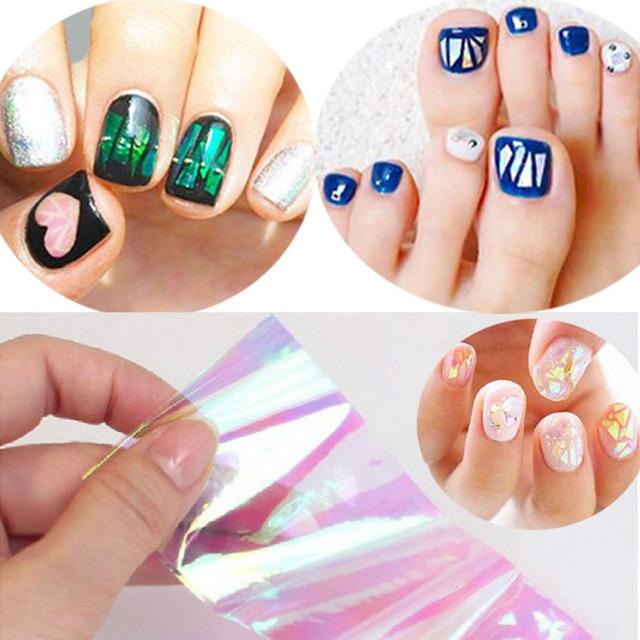 Japanese korean style shining brilliantly coloured nail art japanese korean style shining brilliantly coloured nail art irregular glass foil mirror slice platinum paper sticker prinsesfo Gallery