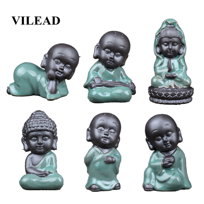 VILEAD 5.5-10cm Ceramic Small Monk Tea Pet Statuettes Creative Buddha Car Flower Pet Ornament Home Decoration Accessories Crafts