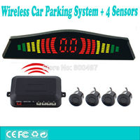 Newest Design Wireless Car Parking Assistance System with 4 Parking Sensors Wireless Display Auto Backup Reverse Alarm Kit|car parking|wireless car parking|wireless parking sensor system -