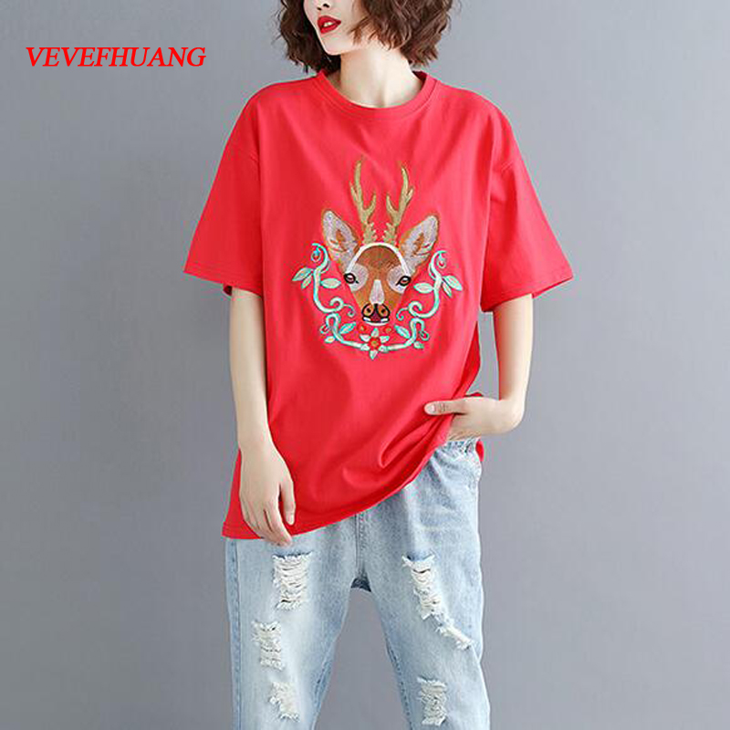 Women's Cotton Tee Shirts 2018 Korean Women Casual Oversize Summer Top Ladies Kawaii Deer Embroidery T-shirt Red,Black
