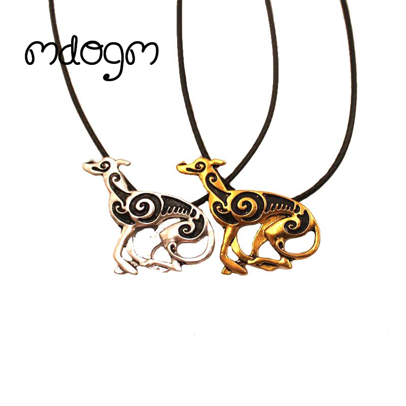 Mdogm 2018 Greyhound Necklace Dog Animal Pendant Antique Gold Silver Plated Jewelry For Women Male Female Girls Ladies N138