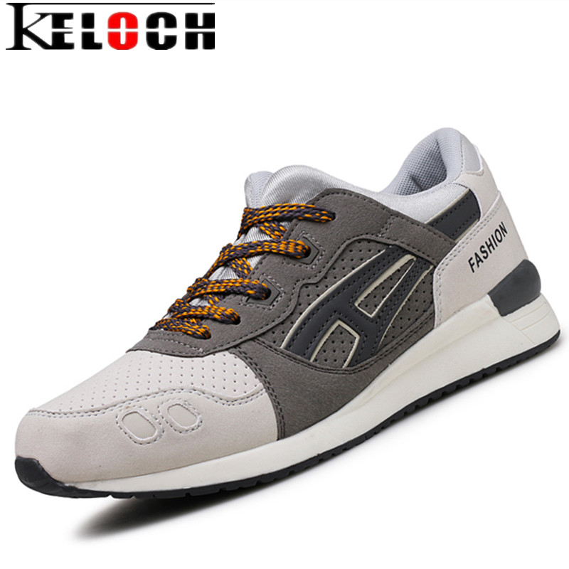 Keloch New Retro Style Men Running Shoes Autumn/Winter Outdoor Walking Sneakers Suede Leather Comfortable Athletic Sport Shoes