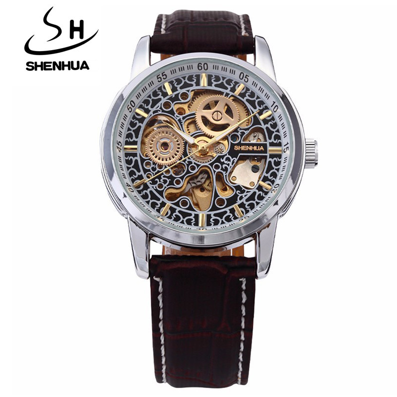 Shanghai Shenhua Reloj Hombres Moda Correa De Cuero Vintage Esqueleto - Relojes para hombres