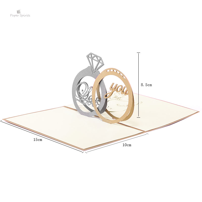 PAPER SPIRITZ Ring wedding laser paper pop up weding card with envelope blank invitations greeting cards weeding invitation