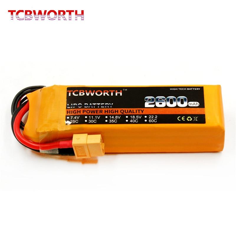 TCBWORTH RC lipo battery 11.1v 2600mAh 25C 3s RC airplane AKKU free shipping