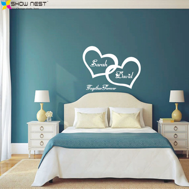 Symbol of love forever wall sticker double heart custom for Bedroom wall designs for couples