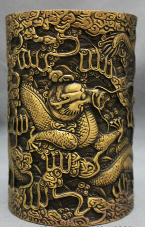 JP S0608 Chinese Bronze Folk Zodiac Myth Fly Dragon Statue Brush Pot Barrel Pencil Vase