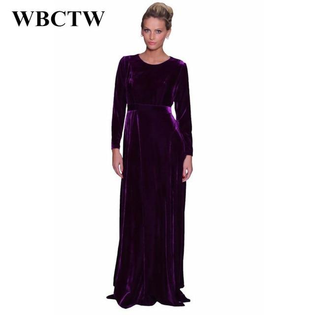 414c56d9451 WBCTW Woman Dress Long Sleeve Purple 2018 Solid High Waist Maxi Plus Size  Dress Runway Autumn Spring Vintage Long Velvet Dress