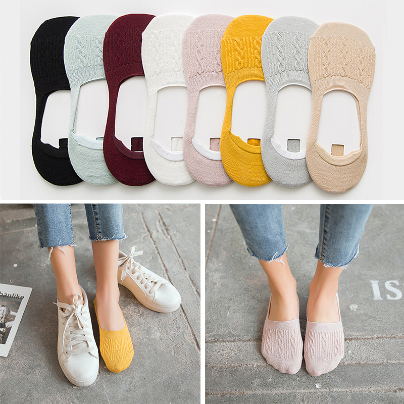 New Lady Casual Breathable Ankle Boat Socks Girls Fashion Invisible Non-slip Cotton Socks Women Low Cut Candy Color Socks
