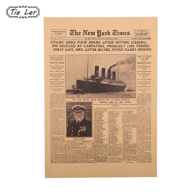 1 Pcs New York Times Kraft Paper Bar Poster Retro Historical Moment Poster  Decorative Wall Sticker