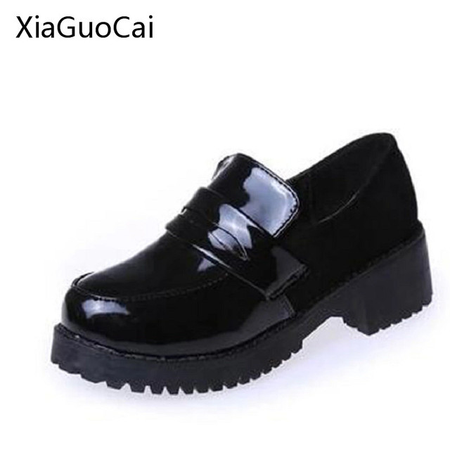 JK Japanese Shoes Middle School Shoes Girls Black Leather Round COS  Animation Festival Maid Uniform Shoes Wedge Shoes X507 50 6708da3674aa