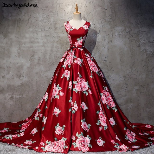 2018 New Burgundy Printed Pattern Ball Gown Long Satin Evening Dress Big  Size Ball Gown V 17adda3d4eae
