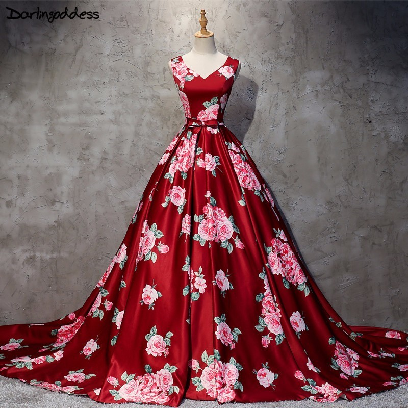 2018 New Burgundy Printed Pattern Ball Gown Long Satin   Evening     Dress   Big Size Ball Gown V Neck Formal Arabic   Evening   Party Gowns
