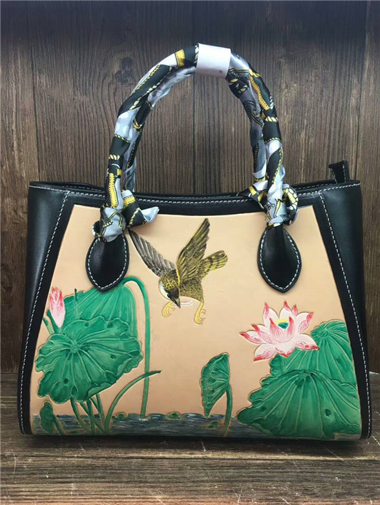 new Italian vegetable tanned cowhide hand carve lotus chinese vintage lady saffiano leather handbag for women olg yat italian vegetable tanned cowhide handmade long section of hasp art wallet elegant retro handbag fiscal cloth