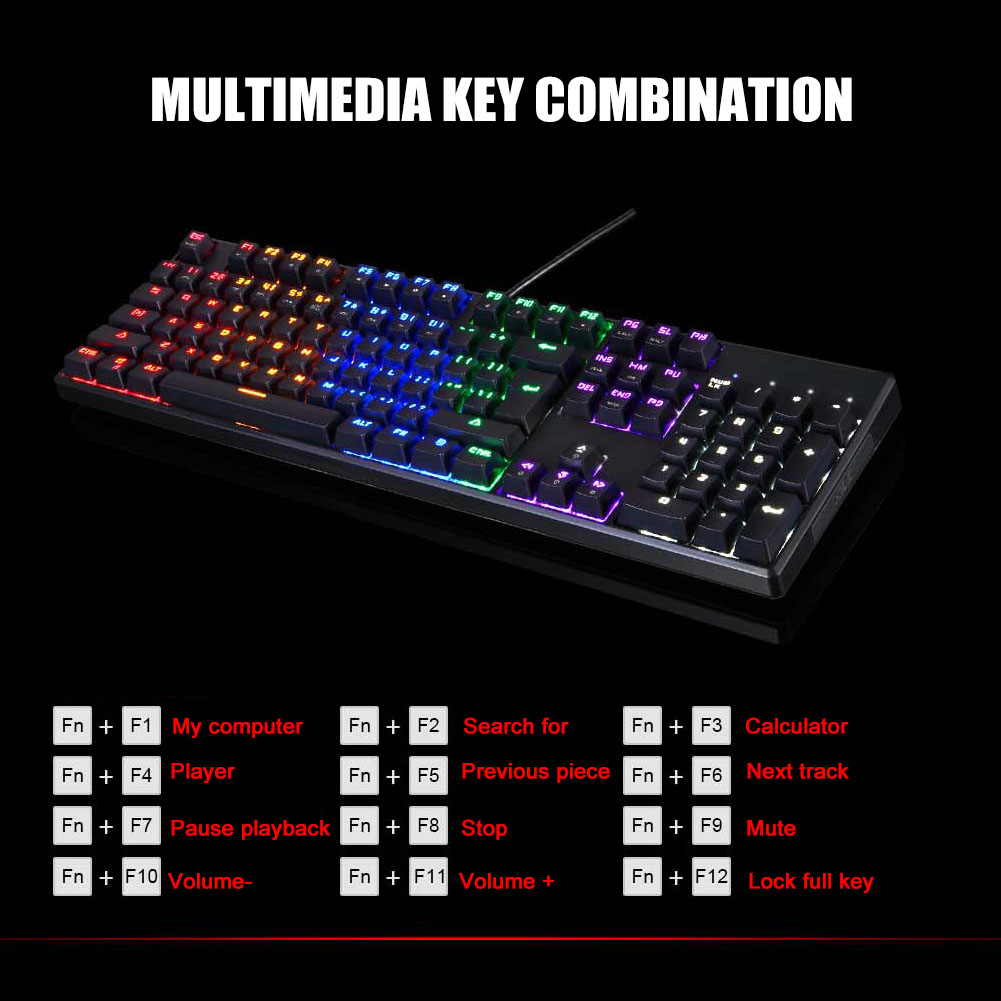 Image 3 - USB Wired Gaming Mechanical Keyboard RGB Backlight 104 Keys Anti ghosting Keys NK Shopping-in Keyboards from Computer & Office
