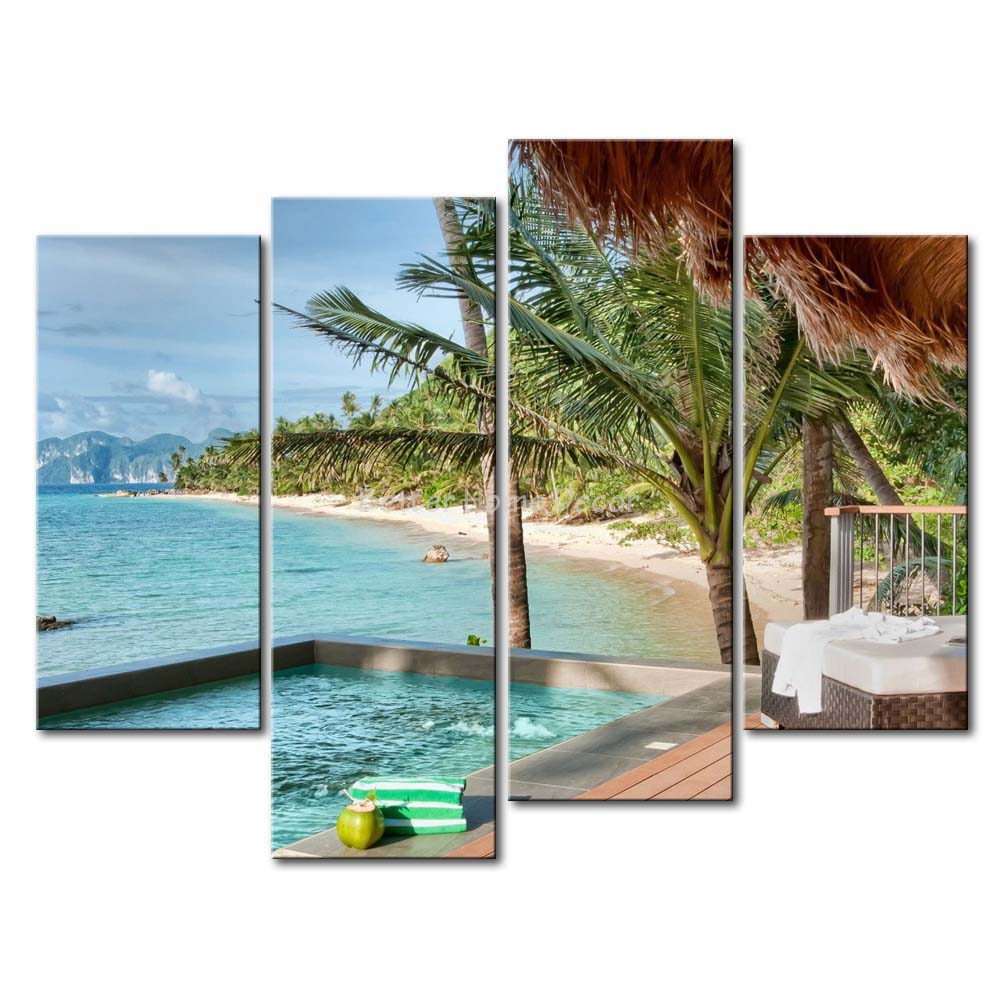 3 piece wall art painting palawan island resort philippines honse palm swimming pool on beach