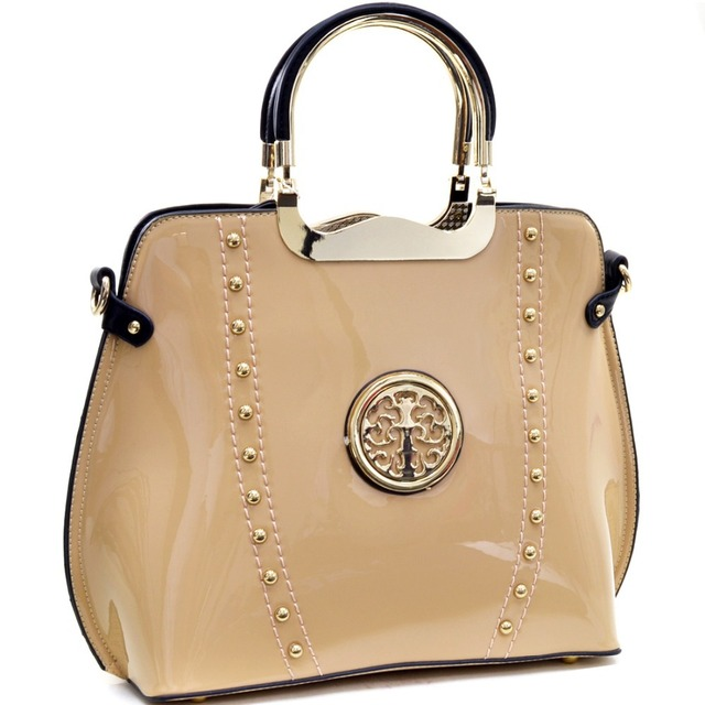 Women Handbag Gold Tone Studded Patent Metal Handle Flat Bottom Emblem Bag  Patent Leather Shoulder Bag 61963f74c18e8