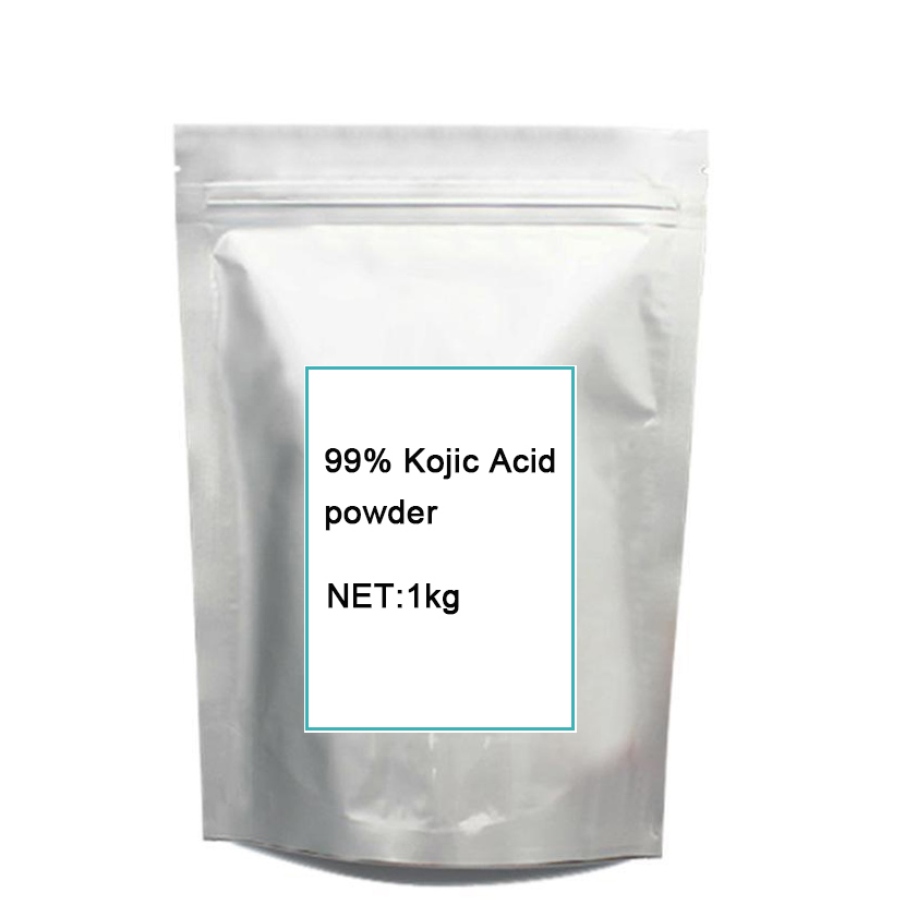 1KG cosmetic grade pure 99% Kojic Acid skin whitening skin lightening Free shipping gmp certified cosmetic grade 1kg hyaluronic acid powder with 99