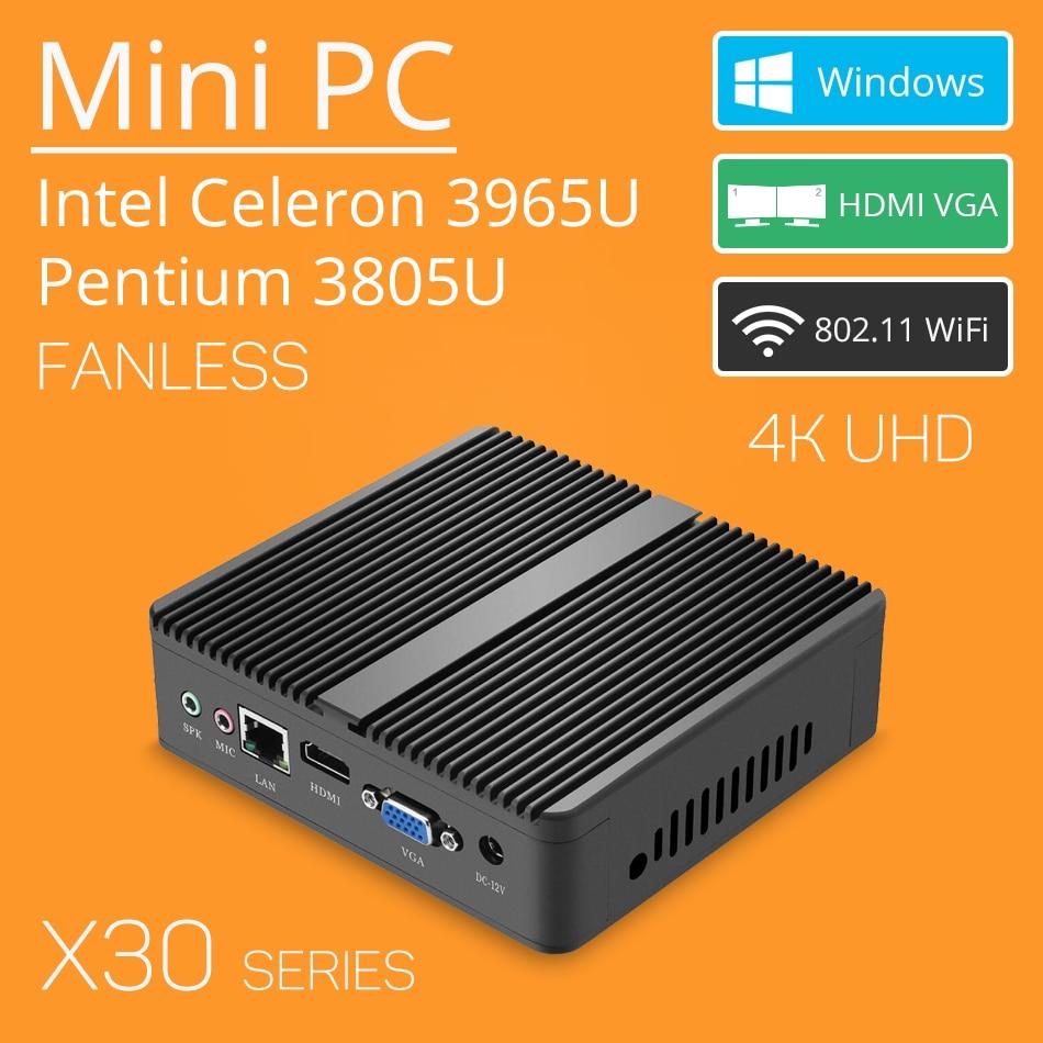 X30 Mini PC 4K UHD Intel Celeron 3965U HD Graphics 610 Windows 10 Fanless Micro Computer HTPC TV Box HDMI VGA WiFi