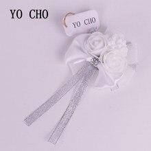 Yo cho diy artesanato suprimentos casamento branco flores de pulso dama de honra seda rosa mão flor flores artificiais para a decoração do casamento