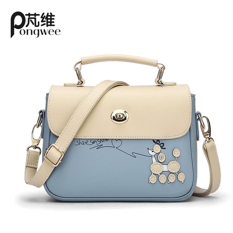 PONGWEE Vintage women bags Multi colour patent PU handbags ladies handbag clutch women tote bag bolsas de marca